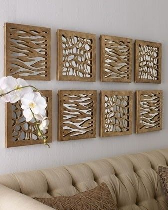 Done over mirrors this could reflect light in the room without being just a plain mirror. Originally from houzz.com