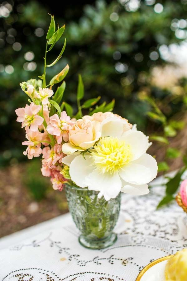 Blush and White Centerpiece of Rosebuds, Stock, and Peonies | Amy Allen Photography | See More! http://heyweddinglady.com/french-country-chic-wedding-style/