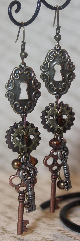 """Victoria""  Steampunk Earrings... $28.00, via Etsy."