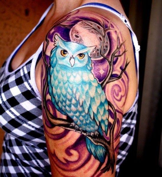 women's half sleeve tattoo designs | Half Sleeve Owl Tattoo Design Ideas For Women