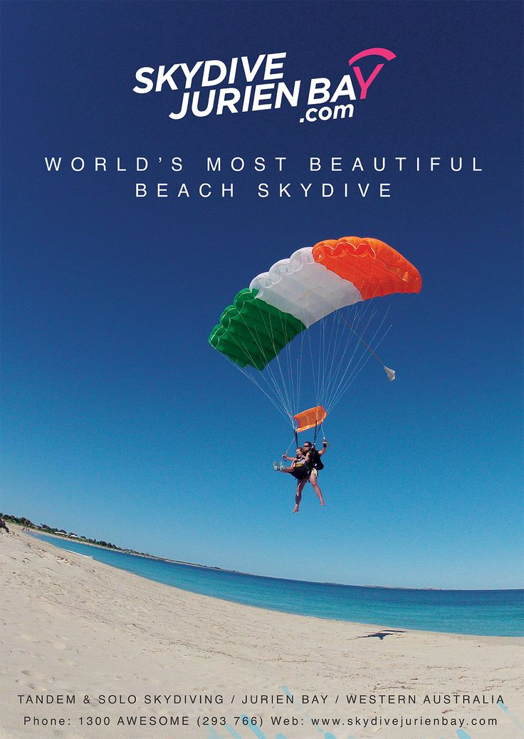 Nice poster design showcasing our beautiful beach that all tandem skydives land on at Skydive Jurien Bay. Jump the beach and try Skydiving Western Australia - Skydive Jurien Bay