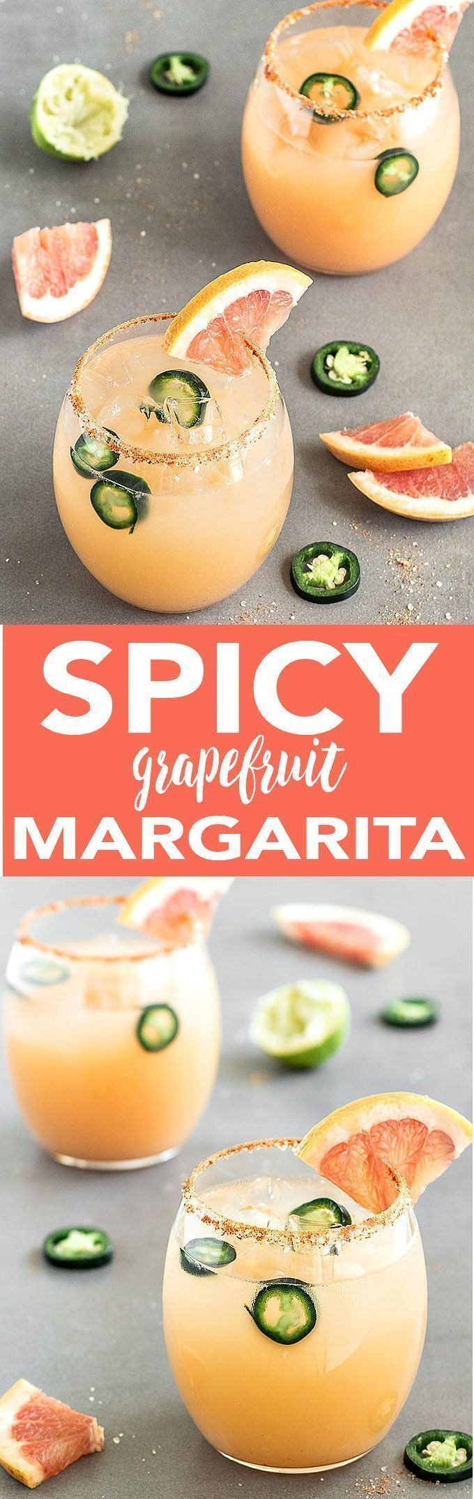 Spicy Grapefruit Jalapeño Margarita - A fun twist on a classic drink! Salty, spicy, sweet, tart and absolutely refreshing!