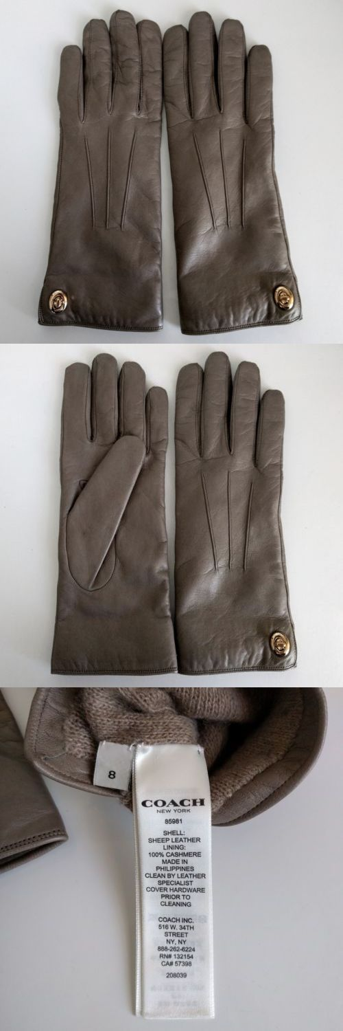 Gloves and Mittens 105559: Coach Womens Iconic Sheep Leather Gloves 100% Cashmere Lining Size 8 -> BUY IT NOW ONLY: $59.95 on eBay!