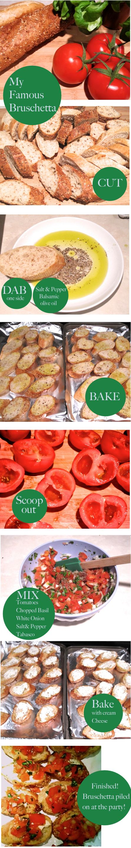 Bruschetta: 1. Tomatoes  2. Baguette- try both whole wheat and white for some…