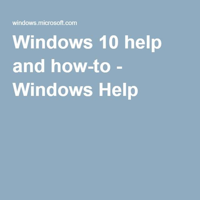 Windows 10 help and how-to - Windows Help