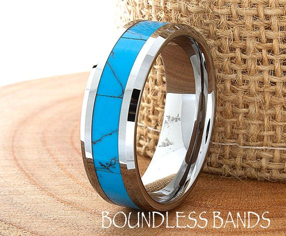 Turquoise Wedding Band Flat High Polished by BoundlessBands