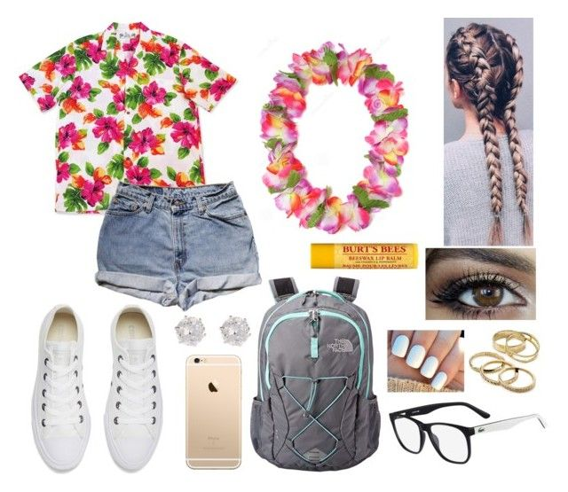 """""""Challenge Camp: Luau"""" by jillibean0025 ❤ liked on Polyvore featuring Levi's, Converse, The North Face, River Island, Lacoste, Kendra Scott and Burt's Bees"""