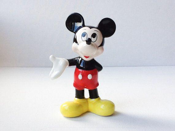 Vintage Mickey Mouse Figurine Ceramic Walt by PrettyHappyVintage