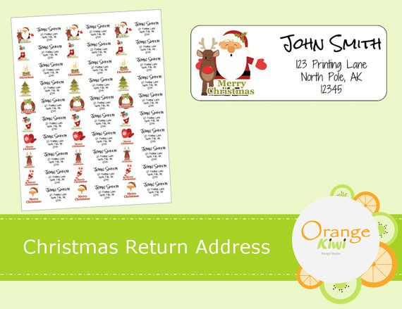 Christmas Return Address Labels  Custom Return by OrangeKiwiDesign