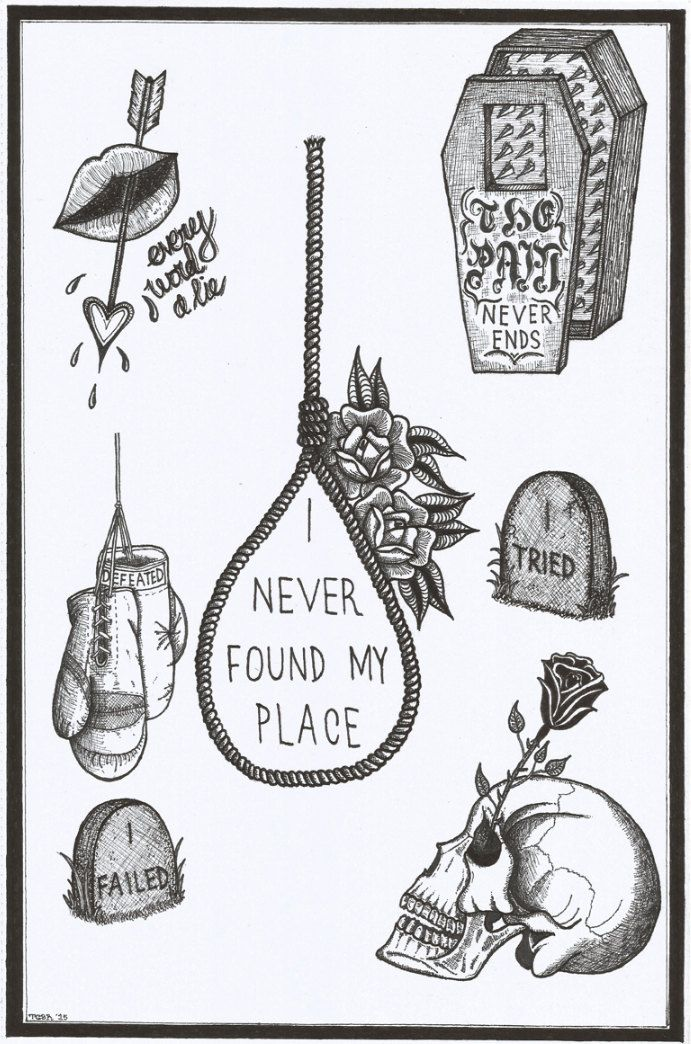 A4 'i never found my place' tattoo flash sheet. by TristanRitterArt on Etsy