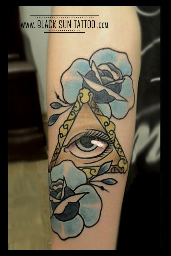 Tattoo by Black Sun Tattoo, Warsaw, Poland #rosestattoo #roses #blueroses #eyetattoo #iluminatitattoo #neotraditional #neotraditionaltattoo #oldschooltattoo #oldschooltattooroses #blacksuntattoo #owmenstattoo