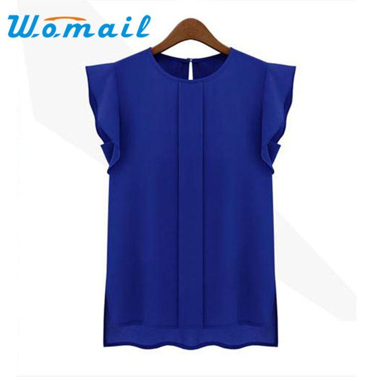 Deliacte Hot! Plus Size Women Summer Casual Clothing Loose Short Tulip Sleeve Chiffon Shirt Tops Jul14 30% OFF wholesale