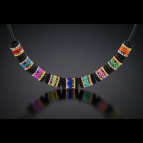 Inspiration Necklace by Mary Cody. Simple peyote cylindrical beaded beads done with delicas.:
