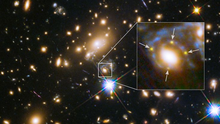 Because a galaxy cluster sits between the supernova and the Hubble Space Telescope, astronomers can see four versions of the cataclysmic explosion all at once!