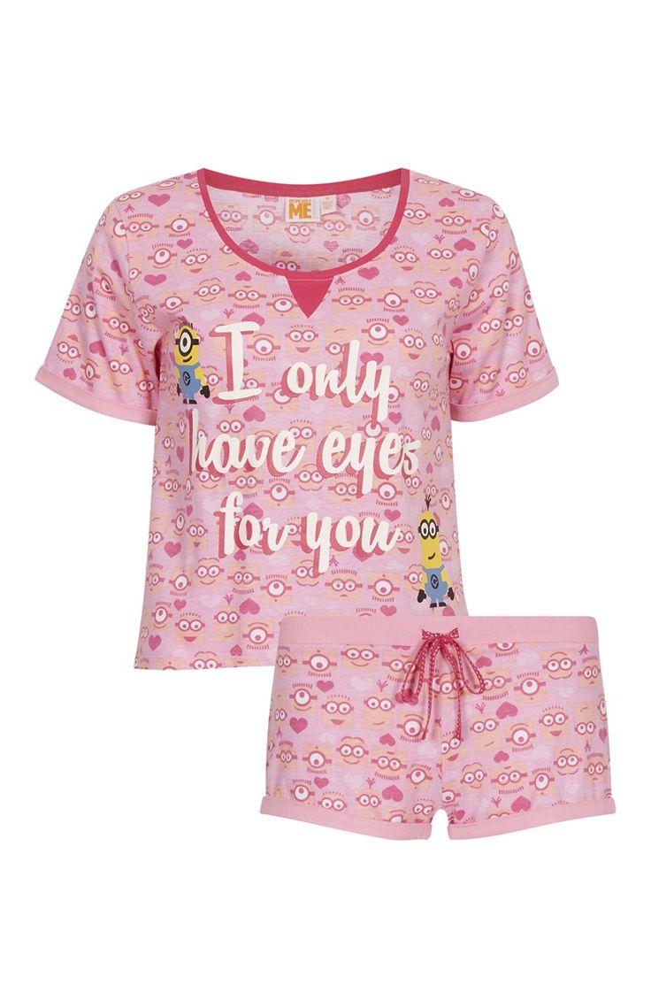 Primark - Roze Minions-pyjamaset met korte broek