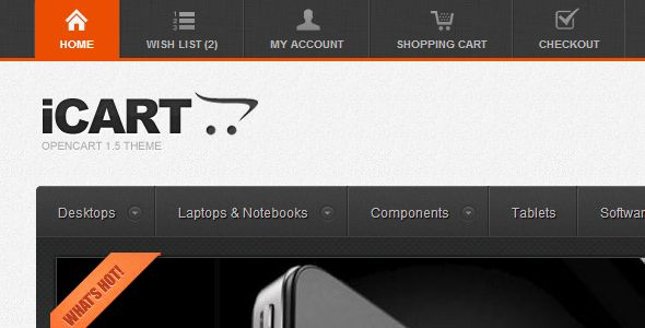 iCart is an e-commerce template for OpenCart 1.5