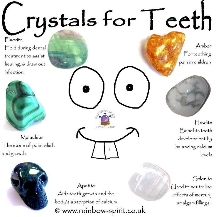 Crystal healing properties of stones used in the treatment of teeth disorders, teething, dental pain