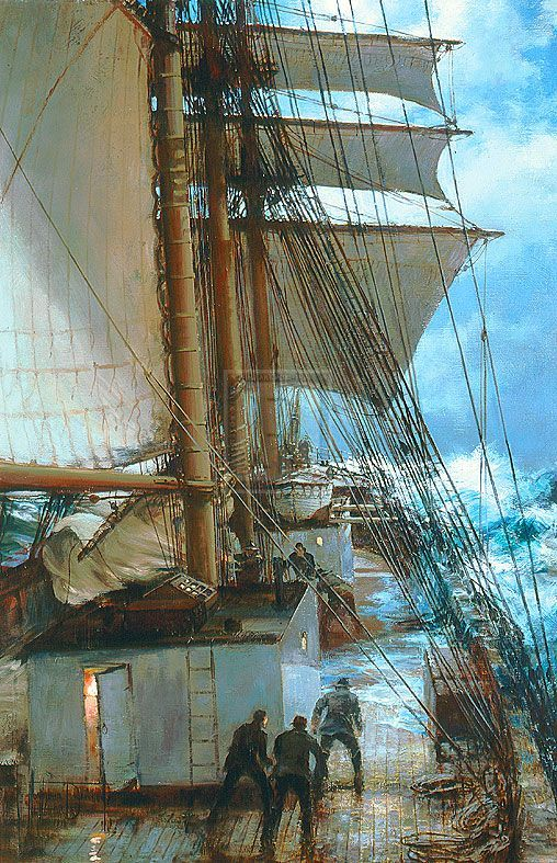 Montague Dawson, The Rising Wind: On deck aboard the Ethiopian