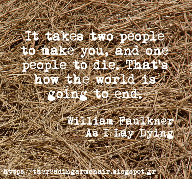 Book quote from the classic novel As I Lay Dying, by William Faulkner