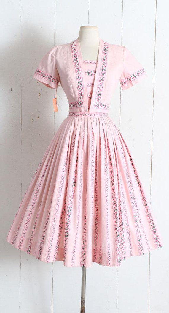 Vintage 1950s Dress Vintage 50s Deadstock Pink Cotton Etsy Vintage Style Dresses Vintage Style Dresses 1950s Vintage Dresses