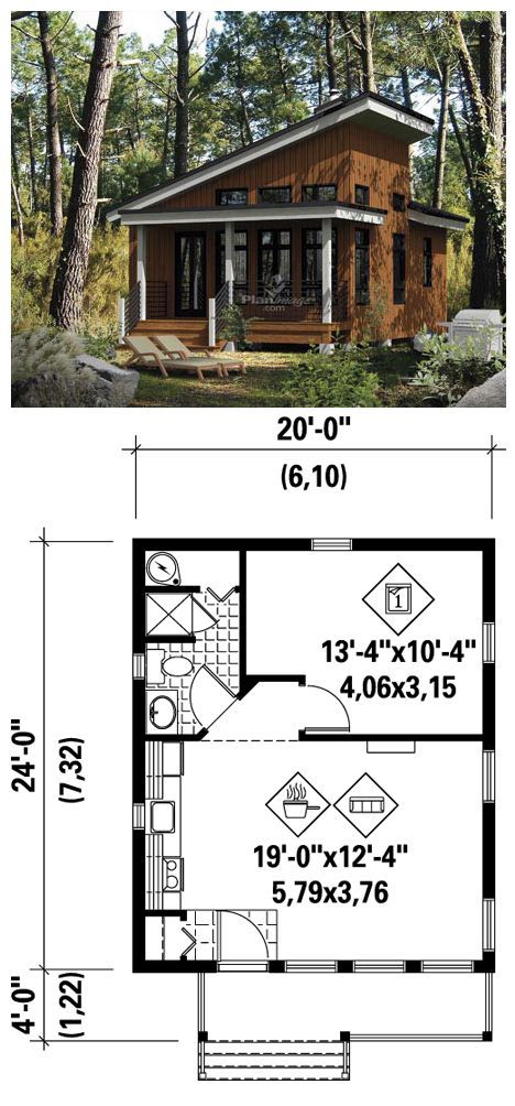 #Tiny #HousePlan 52781 | To enjoy the pleasures of nature, there's nothing like this charming cottage with sloping ceiling in the front. It measures 20 feet wide by 24 feet deep and has a surface area of 480 square feet. This model has an open room which includes the kitchen, living room and access to a bathroom and a master bedroom.