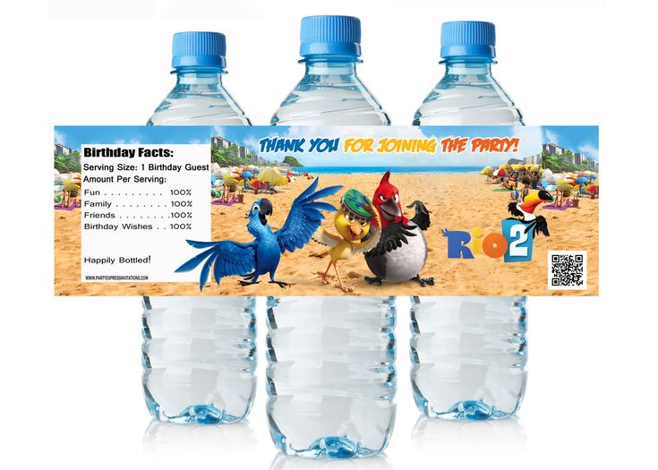 Rio 2 Movie Water Bottle Labels - Rio 2 Movie Party Favors