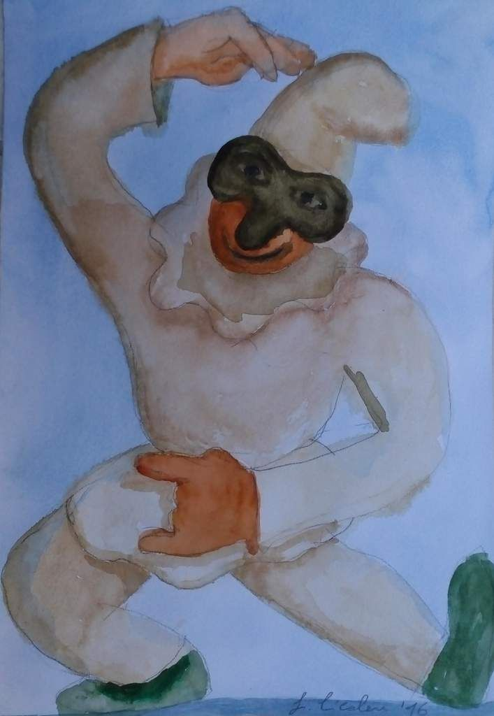 Pulcinello . watercolor . gouache by Cicalese.it
