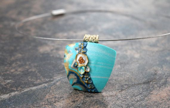 Polymer clay art pendant. Necklace. Teal by EarthExpressions