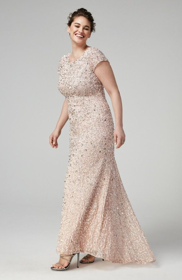 e3531abacde2 sequin beaded blush plus size wedding dress Adrianna Papell Embellished  Scoop Back Gown
