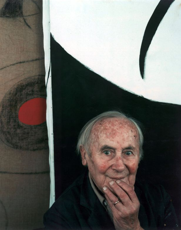 """Joan Miro, Mallorca, Spain, 1979 by Arnold Newman. """"I throw down the gauntlet to chance. For example, I prepare the ground for a picture by cleaning my brush over the canvas. Spilling a little turpentine can also be helpful."""""""