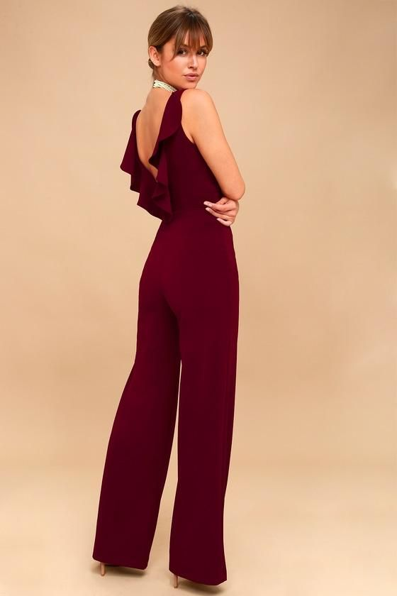 7728a5490d66  AdoreWe  Lulus Womens - Lulus Enamored Burgundy Backless Jumpsuit - Lulus  - AdoreWe.com