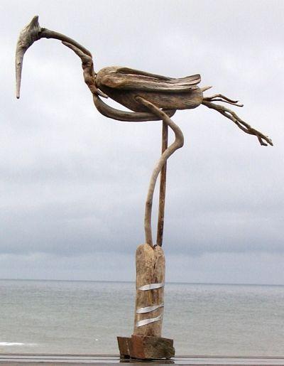 driftwood sculptor with rock base   Avian Sculpture JAYE OUELLETTE > Bird with Fish XVI