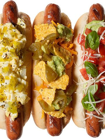 Nacho Dog It might not be Cinco de Mayo, but that doesn't mean you can't have a fiesta in your bun! Sprinkle with shredded cheddar; melt. Top with guac, pickled jalapenos and crumbled tortilla chips.