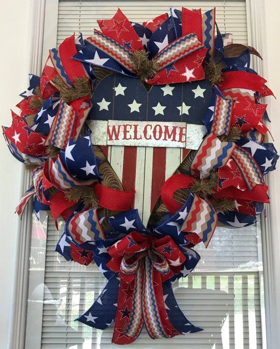 4th of July Wreath, Memorial Day Wreath, Patriotic Wreath, Welcome Wreath, Red White Blue, Flag Wreath, Burlap Wreath, Stars and Stripes