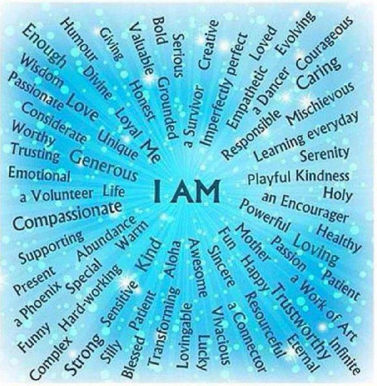 "Self esteem, self acceptance, self respect & confidence. ""I AM"" positive affirmations."
