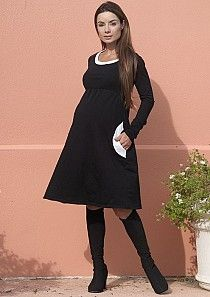 Maternity Clothes on Sale  Go stark raving Mod in our sleek maternity shift dress!  The super soft solid black fabric is contrasted with perfectly with white trim neckline and pockets.  This stylish maternity dress will make you feel comfy and carefree with its unique design and perfect fit!
