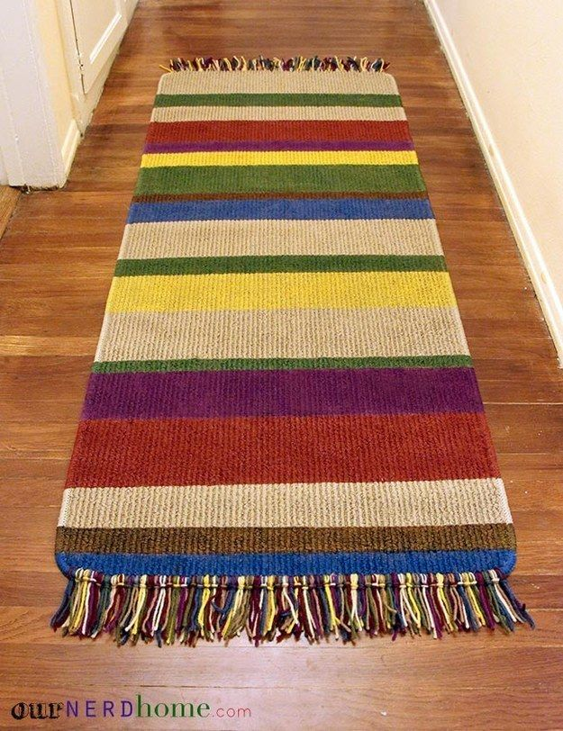A DIY 4th Doctor scarf rug: | Community Post: 21 Subtle Ways To Decorate Your Home Like A Nerd ( someone has to DIY)
