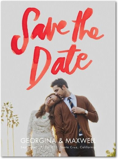 Warmly Written - Signature White Photo Save the Date Cards - Papier Fabrik - Tomato - Red : Front