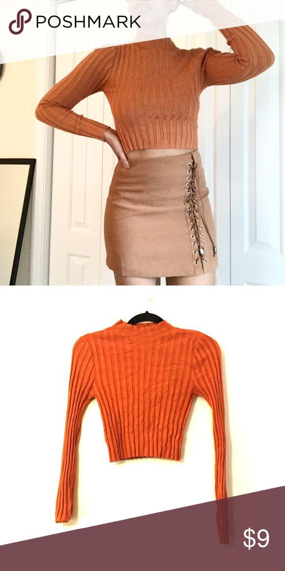 Ribbed Orange Cropped Turtleneck Ribbed cropped orange turtleneck sweater Forever 21 Sweaters