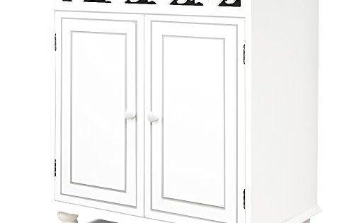 Commode en bois JERSEY blanche buffet blanc dressoir style intérieur séjour 76cmx65cmx35cm: Pieds en bois massif solides et stables…
