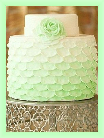 Mint Green Ombre Petal Wedding Cake with Rose Accent