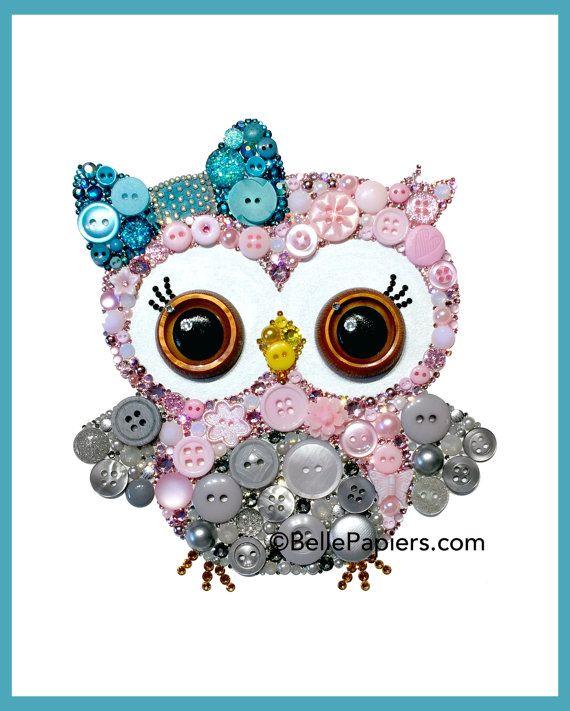 Customizable Owl Cute Nursery Owl Art Button Art by BellePapiers