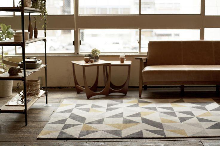 ラグマット(幾何学柄・アイボリー系マルチカラー/L):北欧,ミッドセンチュリー,ベージュ・アイボリー系,Home's Style(ホームズスタイル)のラグ・マットの画像