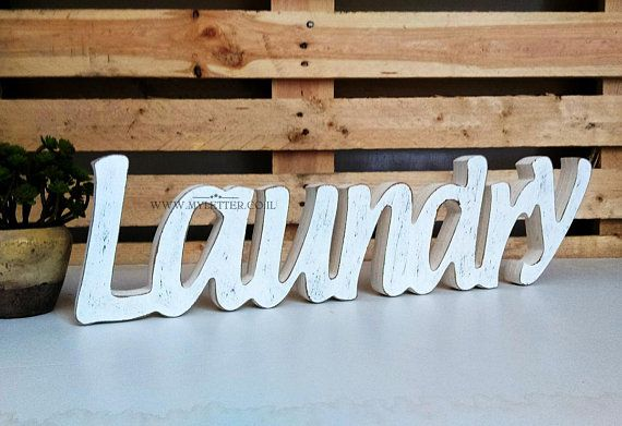 Laundry Room Free Standing Sign Laundry Wooden Rustic Letters Wooden Laundry Signs Laundry Signs Wooden Letters