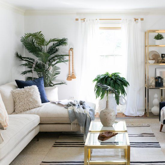 Neutral Glam Meets Modern Boho Living Room Makeover