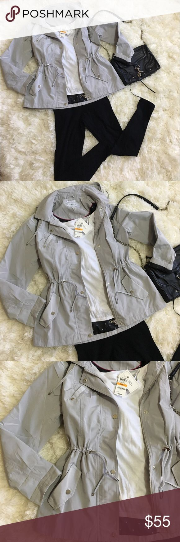 NWT Charter Club light gray jacket Versatile and classic zip up jacket by Charter Club in light gray grey (silver buttons) size Small. Water resistant, removable hoodie, cinch at the waist, hand pockets and beautiful black and white polka dot interior. No flaws. Smoke and pet free home. Charter Club Jackets & Coats