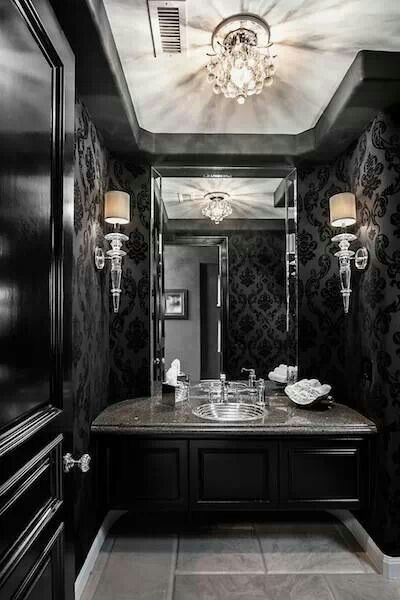 Paint walls satin black and then stencil a glossy black over. Dramatic look for the half bath.