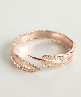 BoyNYC rose gold plated feather cuff | BLUEFLY up to 70% off designer brands at bluefly.com