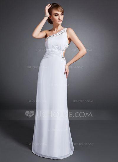 Evening Dresses - $134.49 - Sheath One-Shoulder Floor-Length Chiffon Evening Dress With Ruffle Beading Sequins (017015106) http://jjshouse.com/Sheath-One-Shoulder-Floor-Length-Chiffon-Evening-Dress-With-Ruffle-Beading-Sequins-017015106-g15106