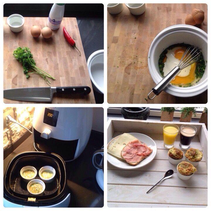 Eier soufflé uit de airfryer! Ingredienten: 2 Eieren 1/4 peper klein takje peterselie 2 eetlepels magere room zout + peper Werkwijze: Snij de peterselie en de peper fijn. Doe de eieren in een kom en roer er de peterselie, room en peper doorheen. Vul de vormpjes voor de helft met de eiermassa. Bak de Souffle's af op 200 graden 8 minuten. Mocht je de souffle's Baveux (zacht) willen hebben zou ik ze 5 minuten 200 graden afbakken. Weer een leuk recept van The philips chef Martin senders!